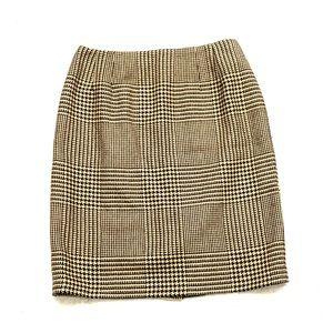 Talbots pencil skirt checkered plaid work slit